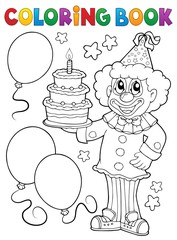 Poster For Kids Coloring book clown holding cake