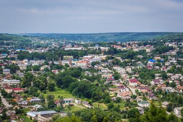 Distance view of Zalishchyky city in western Ukraine