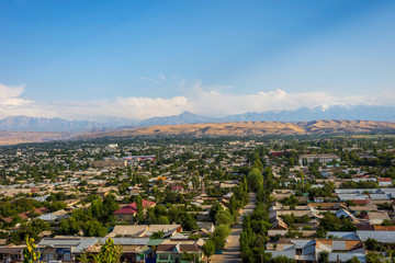 Aerial view over Osh, Kyrgyzstan