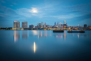 early morning sunrise over city of philadelphia PA