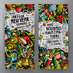 Cartoon cute colorful vector doodles New Year horizontal banners