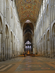 Cathedral Church of the Holy and Undivided Trinity of Ely - interior. The present building dates back to 1083, and cathedral status was granted it in 1109. England
