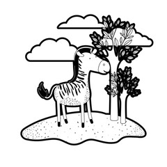 zebra cartoon in outdoor scene with trees and clouds in black silhouette with thick contour vector illustration