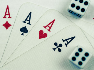 poker playing cards and two playing tricks on