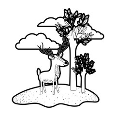 deer cartoon with long horns in outdoor scene with trees and clouds in black silhouette with thick contour vector illustration