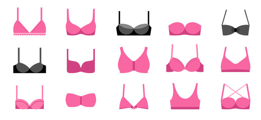 Collection of different types of bras illustrations, icons
