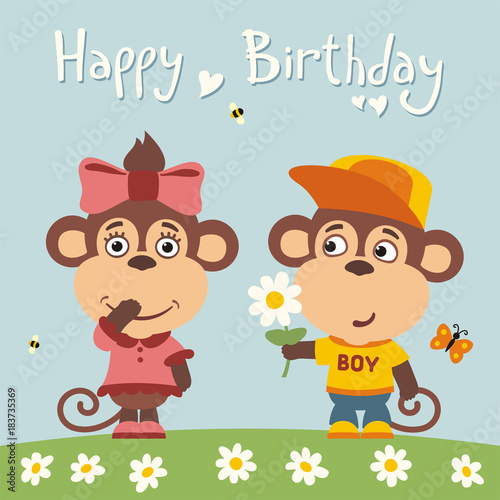 Happy Birthday Greeting Card Funny Monkey Boy Gives Flower To Girl For
