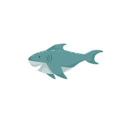Trendy cartoon style cheerful shark swimming underwater. Educational simple gradient vector icon.