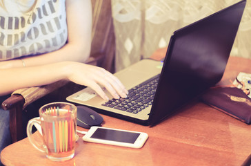 women's hands, laptop, business