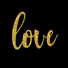 Handwritten love lettering isolated on black. Doodle handmade quote for design gift  card, bridal invitation, workshope, love poster, wedding store sale advertising, scrapbook etc. Gold texture.