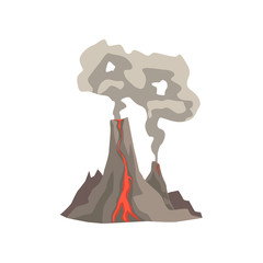 Fired up volcanic mountain with magma, hot lava and dust cloud vector Illustration