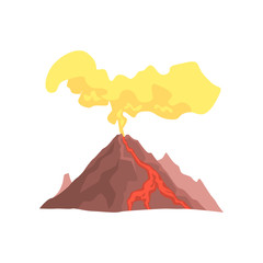 Volcanic mountain with magma, hot lava and dust cloud vector Illustration
