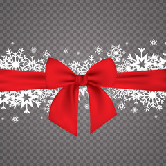 Elegant holiday background with a red bow and place for text. Merry Christmas .Vector illustration
