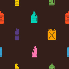 Seamless pattern with cleaning chemical products for your design
