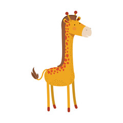 giraffe cartoon colorful silhouette in white background vector illustration