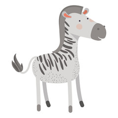 zebra cartoon colorful silhouette in white background vector illustration