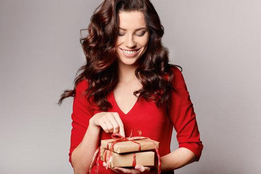woman with christmas gift box