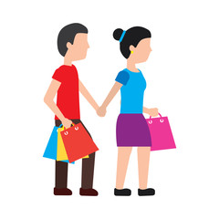 woman and man shopping icon image vector illustration design
