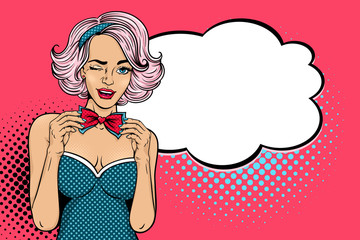 Wow pop art face. Young sexy woman with open smile winks and corrects her bow tie and empty speech bubble. Vector illustration in retro comic style. Colorful pop art background. Party invitation.