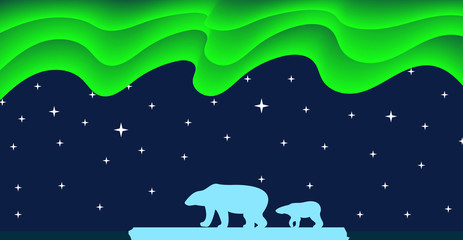 Polar Bears and Northern Lights Flat Style
