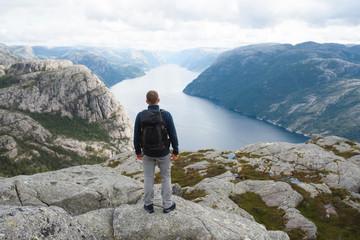Man Looking at River at Lysefjord