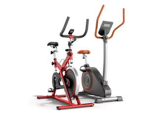 Two modern sport exercise bike yellow purple 3d render on white background