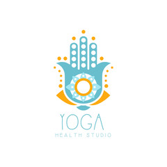 Colorful creative yoga hamsa logo