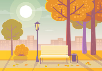 Vector illustration of a beautiful autumn city park with town building background. Evening in the park.