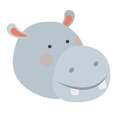 hippopotamus cartoon head colorful silhouette in white background vector illustration