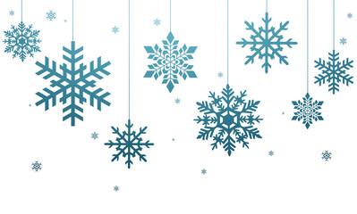 Niebieskie płatki śniegu na białym tle
