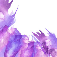 Watercolor frame with  purple, pink stains, strokes. abstraction.  purple, pink paint, colors, paint splash. Used for a variety of design and decoration. Strokes of paint, zigzag, lines, splash.