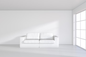 Sofa on white room with large window. 3d rendering.