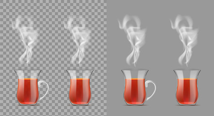 Transparent turkish cup with hot black tea