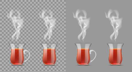 Transparent turkish cup with hot black tea