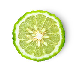 bergamot on white background. with chadow and clipping path.