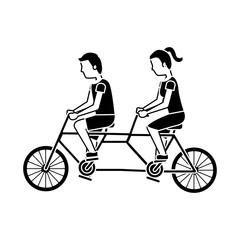 couple riding tandem bicycle sports traveling vector illustration black image
