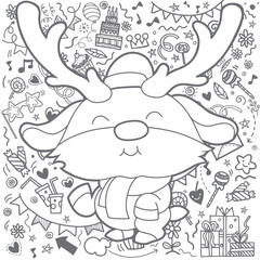 Christmas card of Funny Christmas Reindeer . Cute cartoon funny kawaii character with Christmas decorations background.