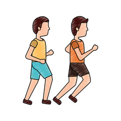 two man sport running sport image vector illustration