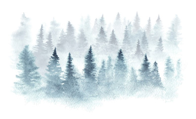 Fotobehang Aquarel Natuur Winter forest in a fog painted in watercolor.