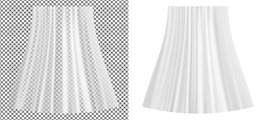 White transparent plastic wrapper and curtain