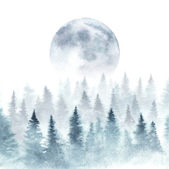 Fotobehang Aquarel Natuur Landscape of a winter forest and rising moon. Trees are dissapearing in a fog. Watercolor illustration.