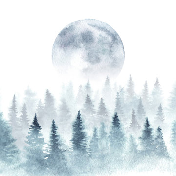Landscape of a winter forest and rising moon. Trees are dissapearing in a fog. Watercolor illustration.