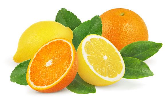 Lemon and orange with leaves isolated on white background.