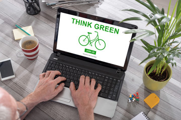 Think green concept on a laptop