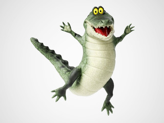 3D rendering of a cartoon crocodile jumping for joy.
