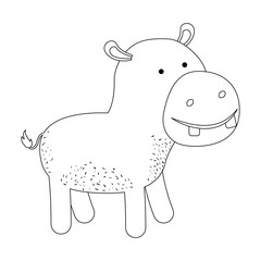 hippopotamus cartoon in monochrome silhouette on white background vector illustration