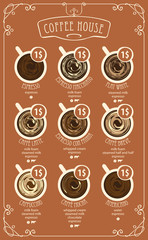 Vector coffee menu card for different types of coffee with a picture of the cups, top view with price in curly frame in retro style
