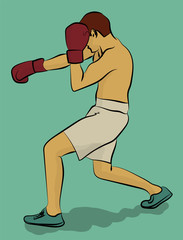 A man in white shorts and dark red gloves is boxing eps 10 illustration