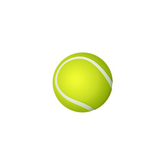 vector flat cartoon tennis ball, sport equipment object for your graphic design or web design element. Isolated illustration on a white background