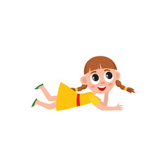 Little preschool, kindergarten girl with two pigtails lying on the floor, listening, cartoon vector illustration isolated on white background. Funny girl with pigtails lying on the floor